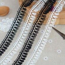 3 м/лот Ширина 1,7 см черный, белый цвет с бахромой и кружевной отделкой кружево растворимое в воде для костюмы шторы DIY аксессуары для дома
