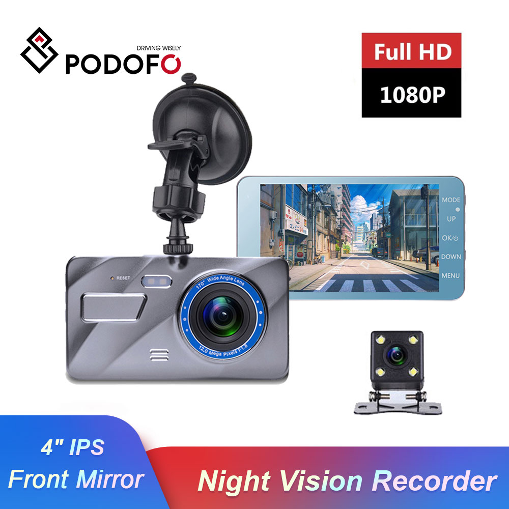 Podofo Car DVR Camera Mirror Parking-Monitor Dash-Cam Dual-Lens Video-Recorder Night-Vision