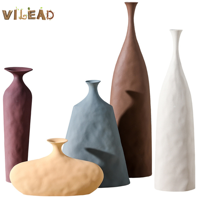 VILEAD 13cm 45cm Morandi Ceramic Plain Embryo Vase Creative Art Texture Home Decoration Hogar Flower Vases Handmade Ornaments 1