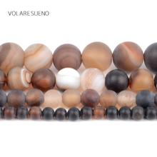 Natural Matte Coffee Agates Stone Round Loose Beads For Jewelry Making 4-12mm Spacer Fit Diy Bracelet Necklace 15''