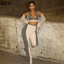 Kliou Patchwork Knitted Two Piece Set Women 2021 Spring Sleeveless V-Neck Sporty Crop Top+Pencil Leggings Co-ord Suit Streetwear