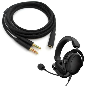 Image 2 - 3.5mm Universal 2 in 1 Gaming Headset Audio  Extend Cable For HyperX Cloud II/Alpha /Cloud Flight/Core Headphone