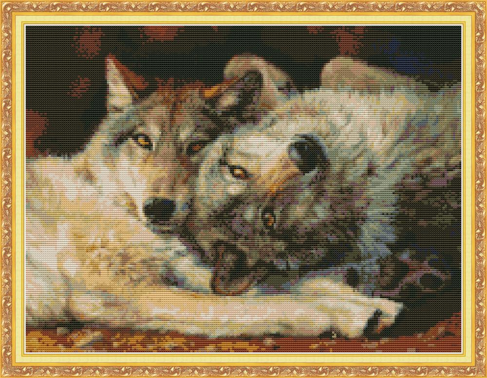 Wolf 4 Cross Stitch Kit Aida 14ct 11ct Count Print Canvas Cross Stitches Needlework Embroidery DIY DA336