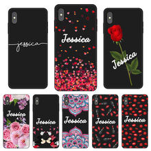 Lips rose lipstick Custom DIY Name Text Black Soft TPU Silicone Phone Case Cover For iPhone 11 Pro X XR XS MAX 5 6 6S 7 8 Plus