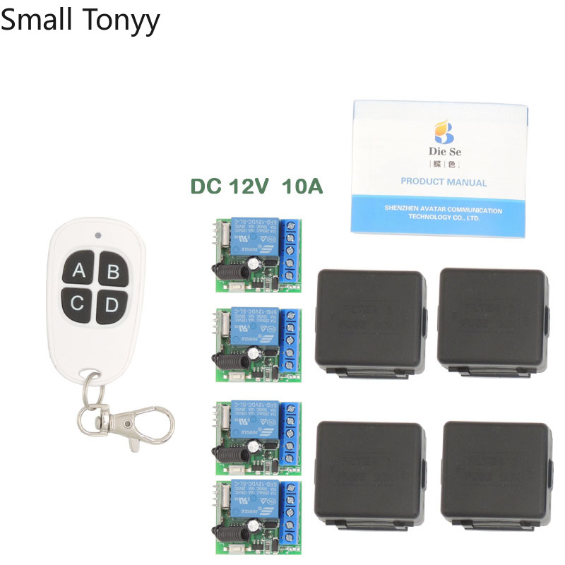 433MHz Universal rf Remote Control 12V Relay Receiver 1CH 4 gangs and Transmitter for Signal transmission DIY remote controls image