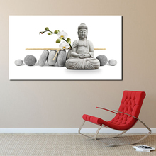 Buddha Orchid Flowers Wall Art Canvas Minimalist Posters Prints Painting Wall Pictures For Living Room Home Decor Accessories