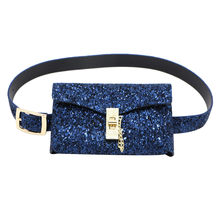 Women Waist Pack Sequined bolso mujer Fanny Pack Leather Vintage Designer Bags Pretty Style Daily Fashion Waist Belt Bag(China)