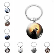 2019 New Wolf and Moon Pendant Vintage Aggressive Keychain Mens Jewelry Glass Cabochon Holder Gift