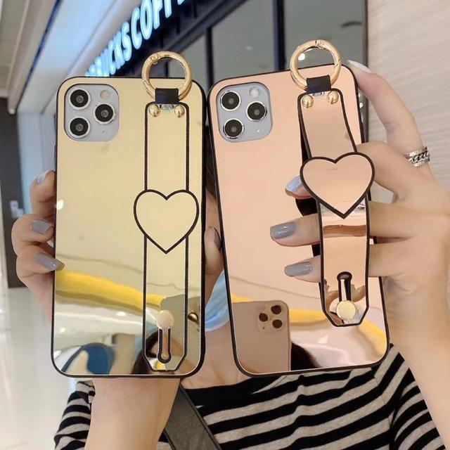 Étui miroir pour Iphone 11 Pro Max X XR XS Max 7 8 Plus SE 2020 mode amour coeur dragonne couverture support de téléphone Coque Capa