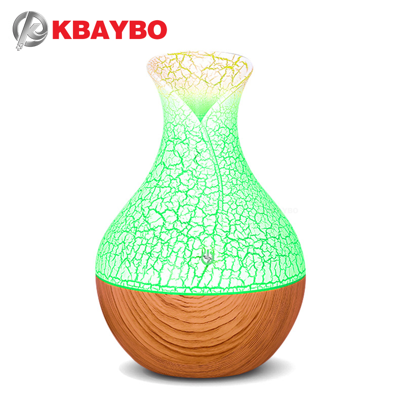 KBAYBO 130ml Mini USB Air Humidifier Aroma Oil Diffuser Essential Aroma Mist Maker Fogger Creative Crackle With 7 LED Colors
