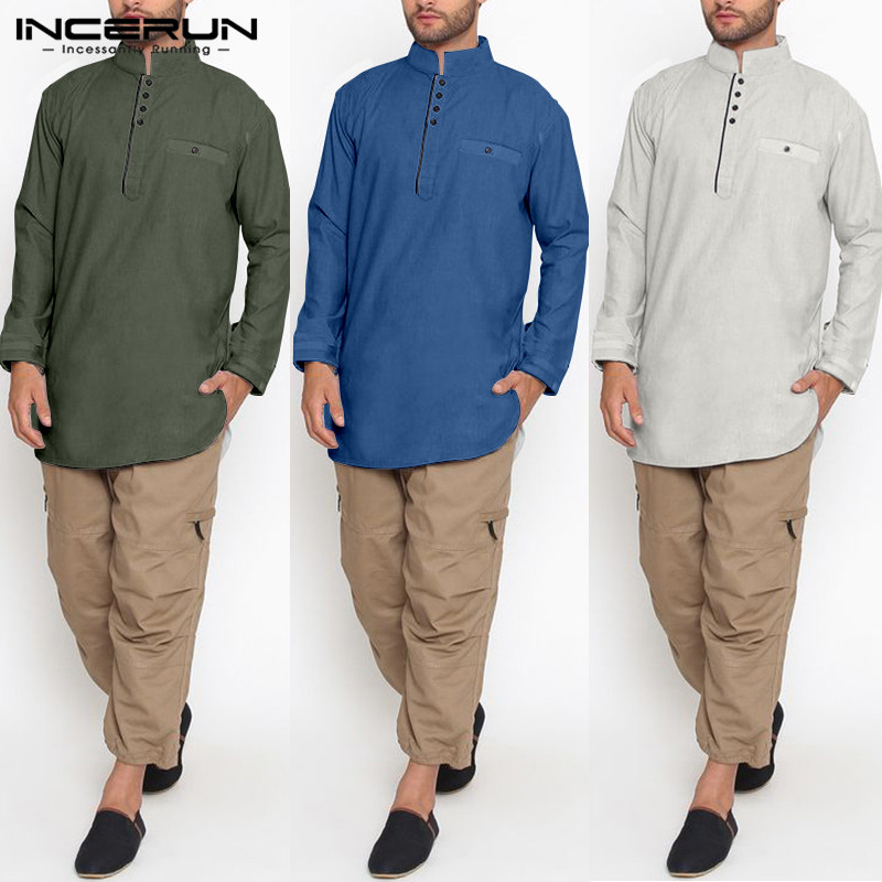 Vintage Men Shirt Indian Kurta Suit Stand Collar Cotton Long Sleeve Plain Button Longline Shirts Mens Muslim Clothing INCERUN