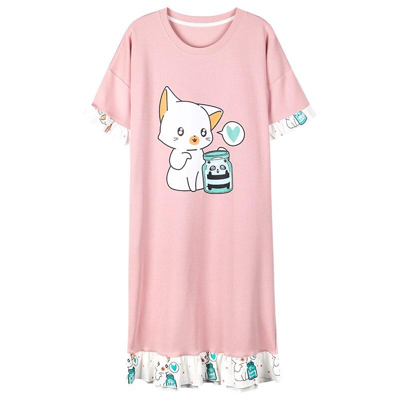 Cartoon Cotton   Nightgown   Women Short Sleeve dress Nightwear Sleepwear Female Lounge Wear Night Dress Home   Sleepshirt   Nighty