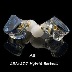 Image 1 - A3 HIFI 1BA+1DD Hybrid Earphone MMCX 2PIN Powerful Stereo Hi Res Earbud Resin Custom Made Headphone DJ Monitor Stage Headset IEM