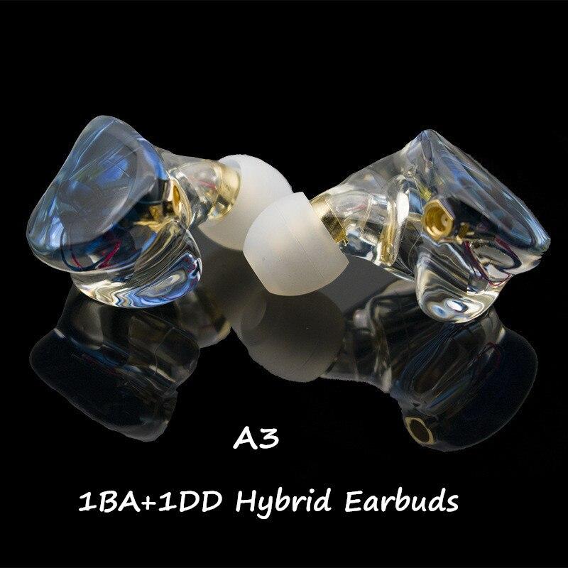 A3 HIFI 1BA+1DD Hybrid Earphone MMCX Powerful Stereo Hi-Res Earbud Resin Custom Made Headphones DJ Monitor Stage Headset IEM New