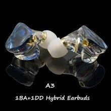 سماعة أذن هجينة A3 HIFI 1BA + 1DD MMCX 2PIN ستيريو قوي عالي الدقة من الراتنج سماعة رأس مخصصة DJ شاشة مسرح IEM