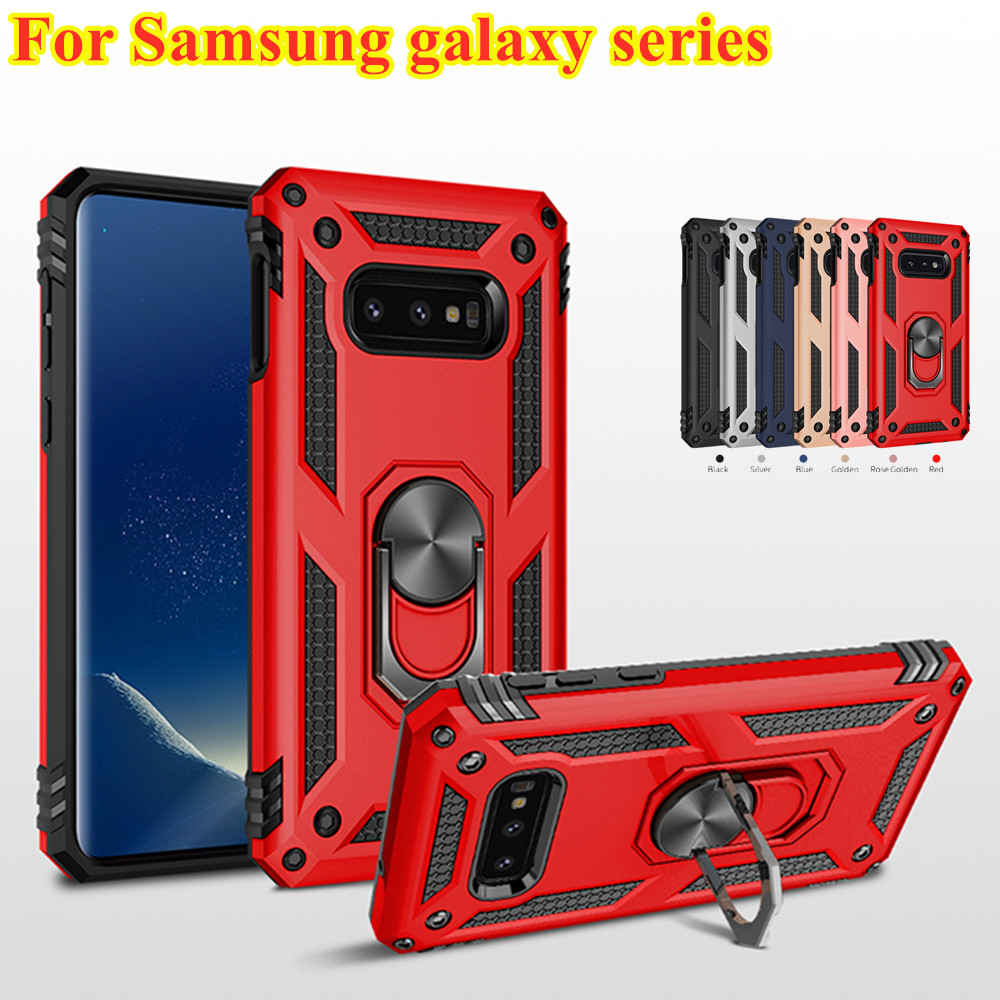 Phone Case For Samsung Galaxy A50 S10 S9 S8 Note 8 9 10 J4 J6 A7 A8 A30 A70 A80 M30 M20 Luxury Armor Magnetic Holder Ring Cover