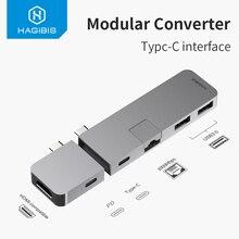 Хагбис USB-C концентратор адаптер TypeC к HDMI-совместимый USB 3,0 RJ45 Gigabit Ethernet SD/TF PD Зарядка для MacBook Pro/Air Samsung S10
