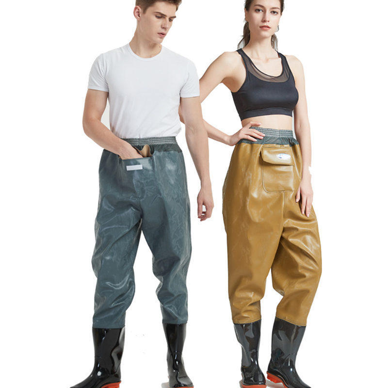 Waterproof Fishing Waders One-piece PVC Waist Pants Wading Rubber Boots River Farm Garden Water Non-slip Shoes Mud Outdoors Agua