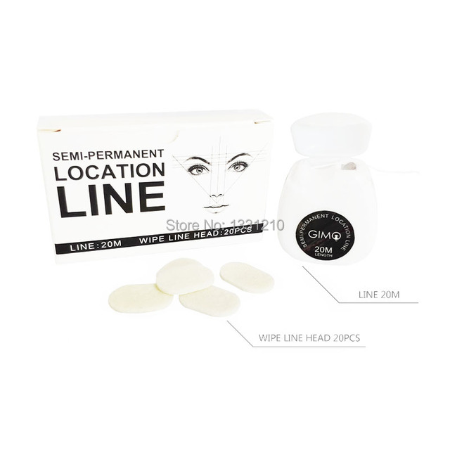 Microblading MAPPING STRING Pre-Inked Eyebrow Marker thread 20m With 20 Pcs Wipe Line Heap