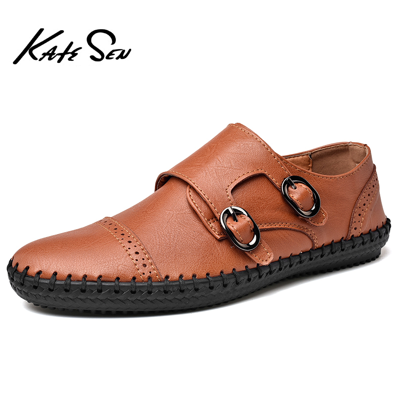 KATESEN Men Shoes Genuine Leather Men Casual Shoes Luxury Brand 2019 Mens Loafers Moccasins Breathable Slip On Driving Shoes