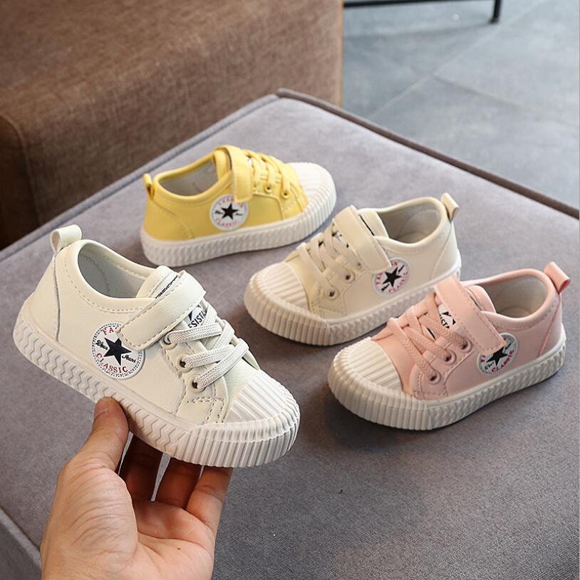 Summer Spring Canvas Children's Shoes Star Fashion Sneakers Kids Lace-up Casual Shoes For Girls Boys Withe Pink Yellow