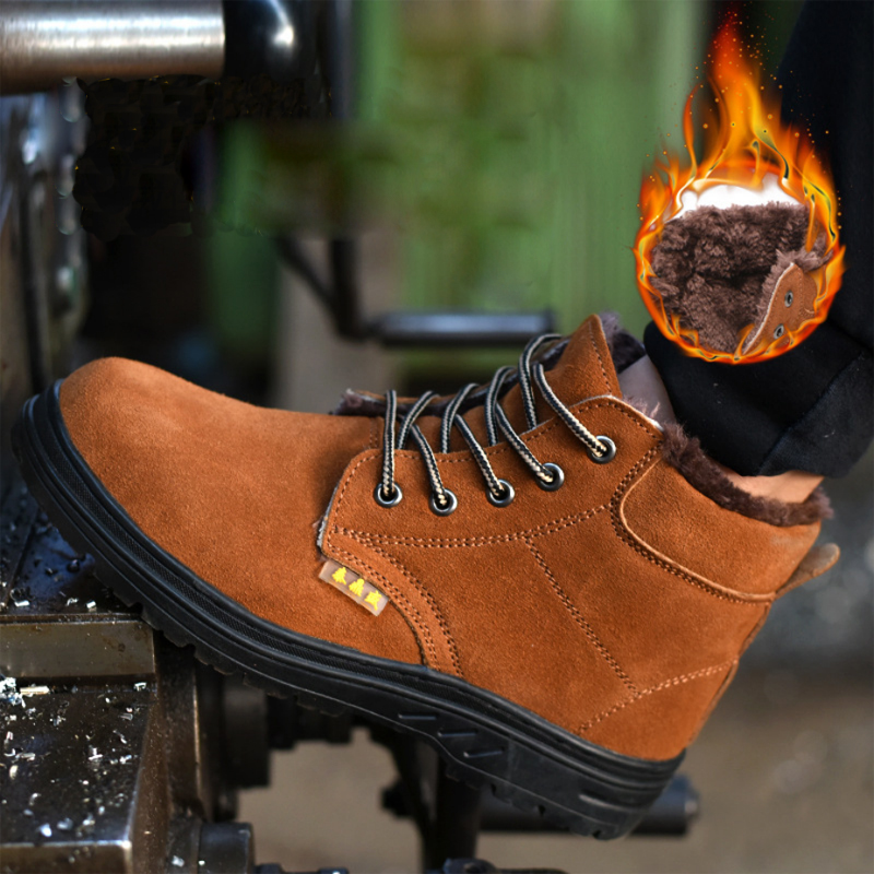 Winter Safety Shoes Cap Steel Toe Shoe Boots For Man Work Shoes Anti-skid And Wear-Resistant Beef Footwear Wear-resistant DXZ105