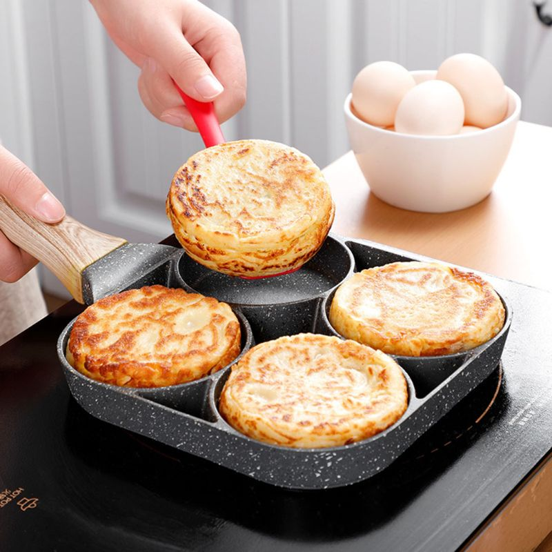4-hole Omelet Pan Frying Pot Thickened Non-stick Egg Pancake Steak Cooking Pan Hamburg bread Breakfast Maker Induction cooker 1