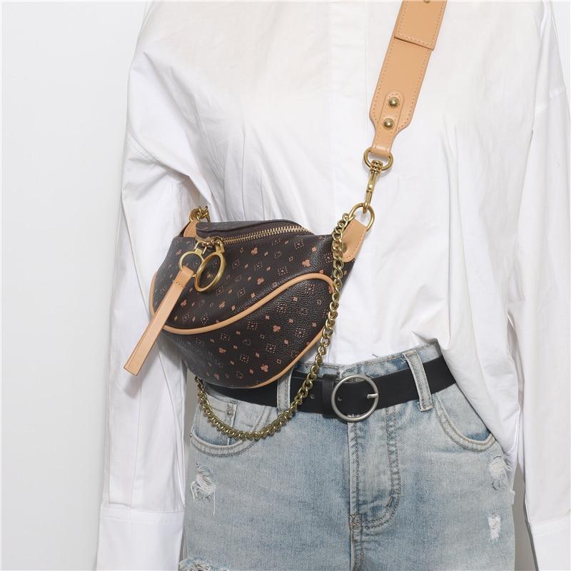 Vintage Appliques Leather Waist Bag Women Casual Chain Handbags Solid Chest Bag Dot Female Pattern Shoulder Bag Luis Vuiton