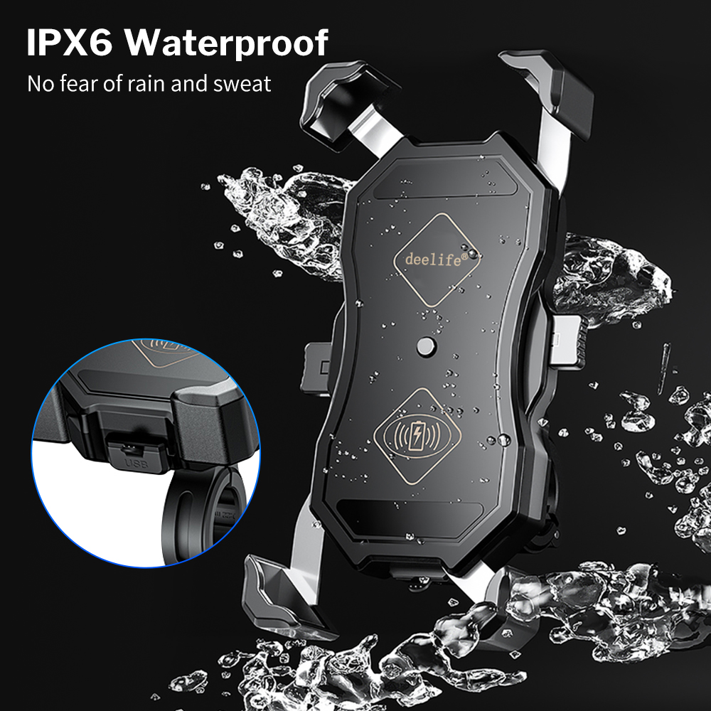 lowest price Deelife Motorcycle Mobile Phone Holder Waterproof X-Grip Mount with QC 3 0 USB Qi Charger for Scooter Motor Motorbike Support