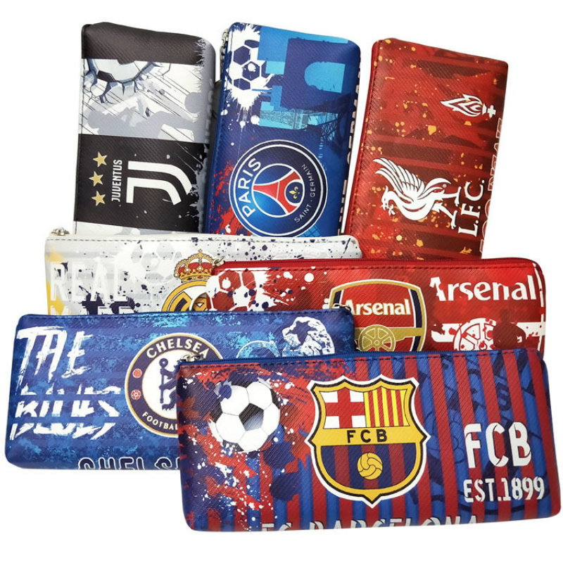 La Liga Premier League Ligue Serie A Football Team Logo Fans Graffiti Kawaii Lol Pencil Bag Case Stationery Bag Back To School