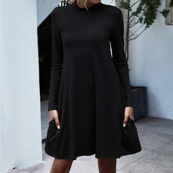 2020 Summer Sexy Dress For Women Solid Color Elegant Casual Dress Long Sleeve Stand Neck Holiday Min