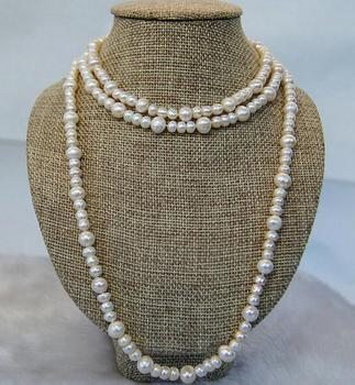 Unique Pearls jewellery Store 52 inches Long Pearl Necklace Gray Color 5-8mm Round Genuine Freshwater Pearl Necklace