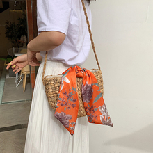 Straw bag Hand-woven shoulder Crossbody woven bag silk scarf bow beach bag ladies  Bali leisure vacation Sling bag