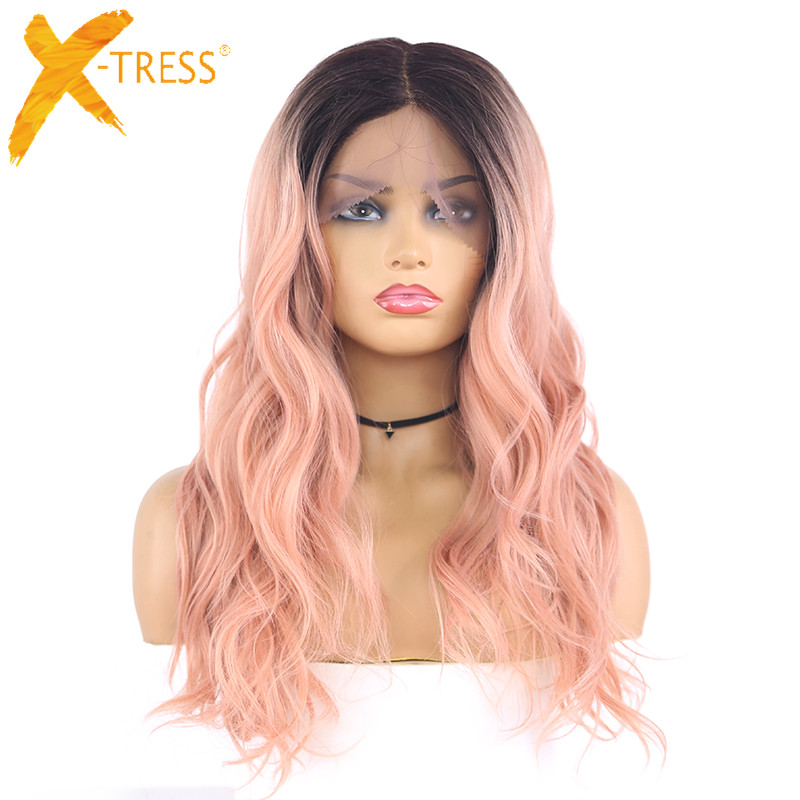 Ombre Pink Color Synthetic Lace Front Wig Natural Wave Black Grey Wigs 18Inch Length Heat Resistant Lace Wig For Women X-TRESS