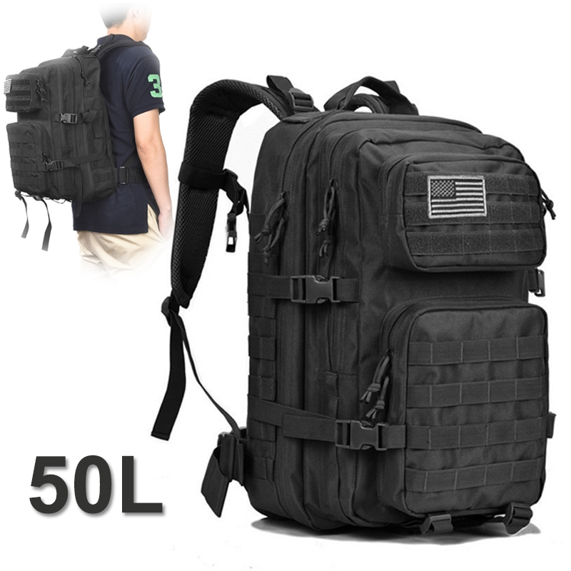 Canvas Military Tactical Backpack Travel 50L Outdoor Large Bagpack Men For Sport Hiking Camping Hunting Mountaineering Climbing