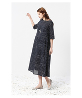 women's Dress new products in spring and summer 2020 leisure art leisure show thin cotton and hemp printing round neck medium lo