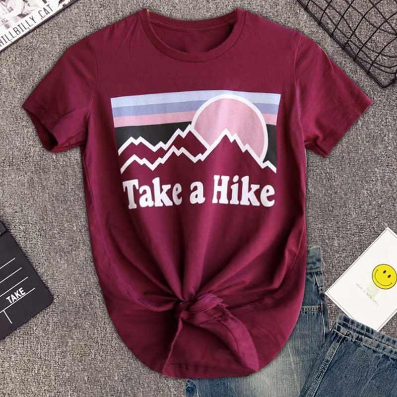 Take A Hike พิมพ์ตัวอักษรผู้หญิงเสื้อยืดแฟชั่น O คอสั้นแขนเสื้อด้านบน Tee สีชมพู/ไวน์แดงสาวสบายๆเสื้อ T เสื้อ