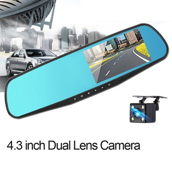 Auto Car DVR Camera Full 1080P 4.3 inch Rearview Mirror dash cam Digital Video Recorder Dual Lens Camcorder image
