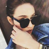 FEISHINI 2020 Flat Top Oversize Goggles Mens Square Sunglasses Women Fashion Famous Brand Rivet Black Sun glasses Vintage Shades