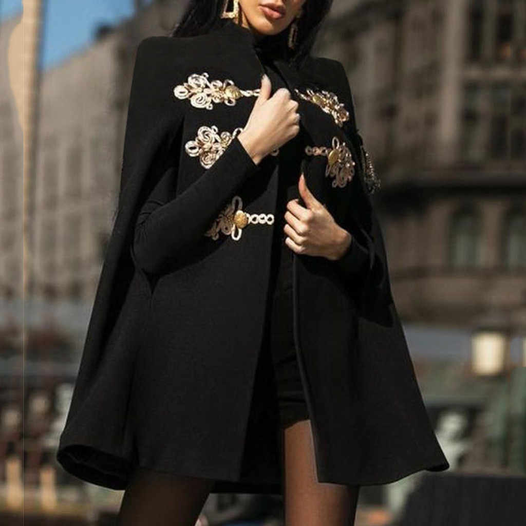 Fashion Vintage Women's Woolen Coat Black Embroidery Printed  Mediaeval Cloak Retro Gothic Cape Overcoat Full Length Coat