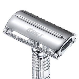 Image 2 - BAILI afeitadora con hoja de seguridad para peluquero, doble filo, mariposa, giro, abierto, en forma de T, Unisex, 1 funda de viaje con espejo BD179