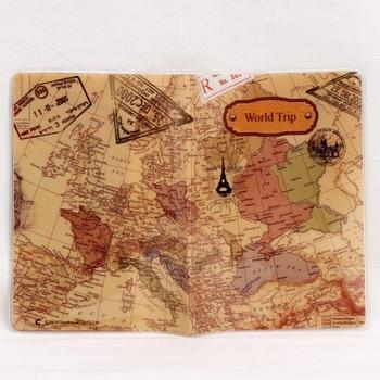 2019 mężczyźni nowy ze skóry z PVC okładki na paszport przypadku saszetka na dowód osobisty mapa podróży świata paszport paszport portfele 14*10 cm # K tanie i dobre opinie Unisex Stałe 10cm ID Card Bag 14cm Id posiadacze kart Nie zamek Na co dzień Karta kredytowa PVC Leather