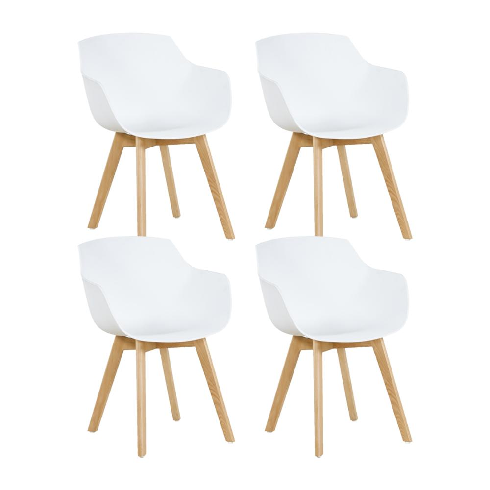 EGGREE Set Of 4pcs Clover Plastic Dining Chair With Beech Wood Legs For Dining Room - White - 2-8days EU Warehouse
