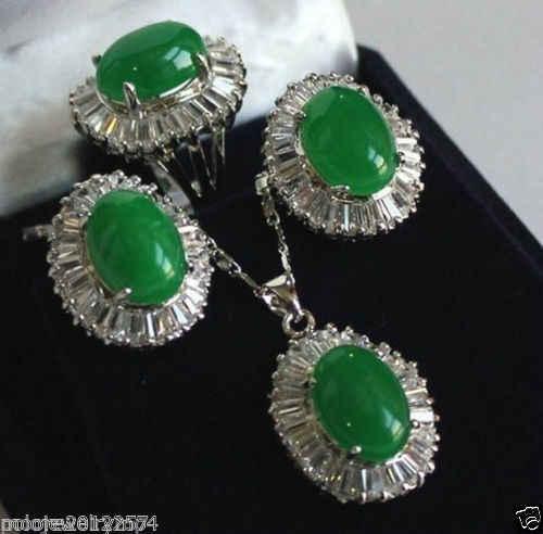 Бесплатная> натуральный зеленый нефрит кулон ожерелье кольцо серьги наборы ювелирных изделий