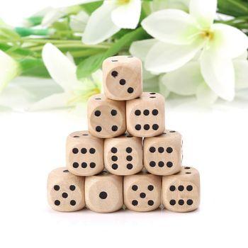 Big sale10pcs-dados de madera de 6 lados, cubos de punta redonda de esquina, juguetes para chico, juego 14*14*14mm