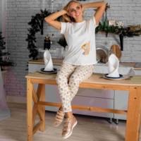 Atoff home pajamas 여성 ZHP 024/1 (우유 + 하트/케이지)