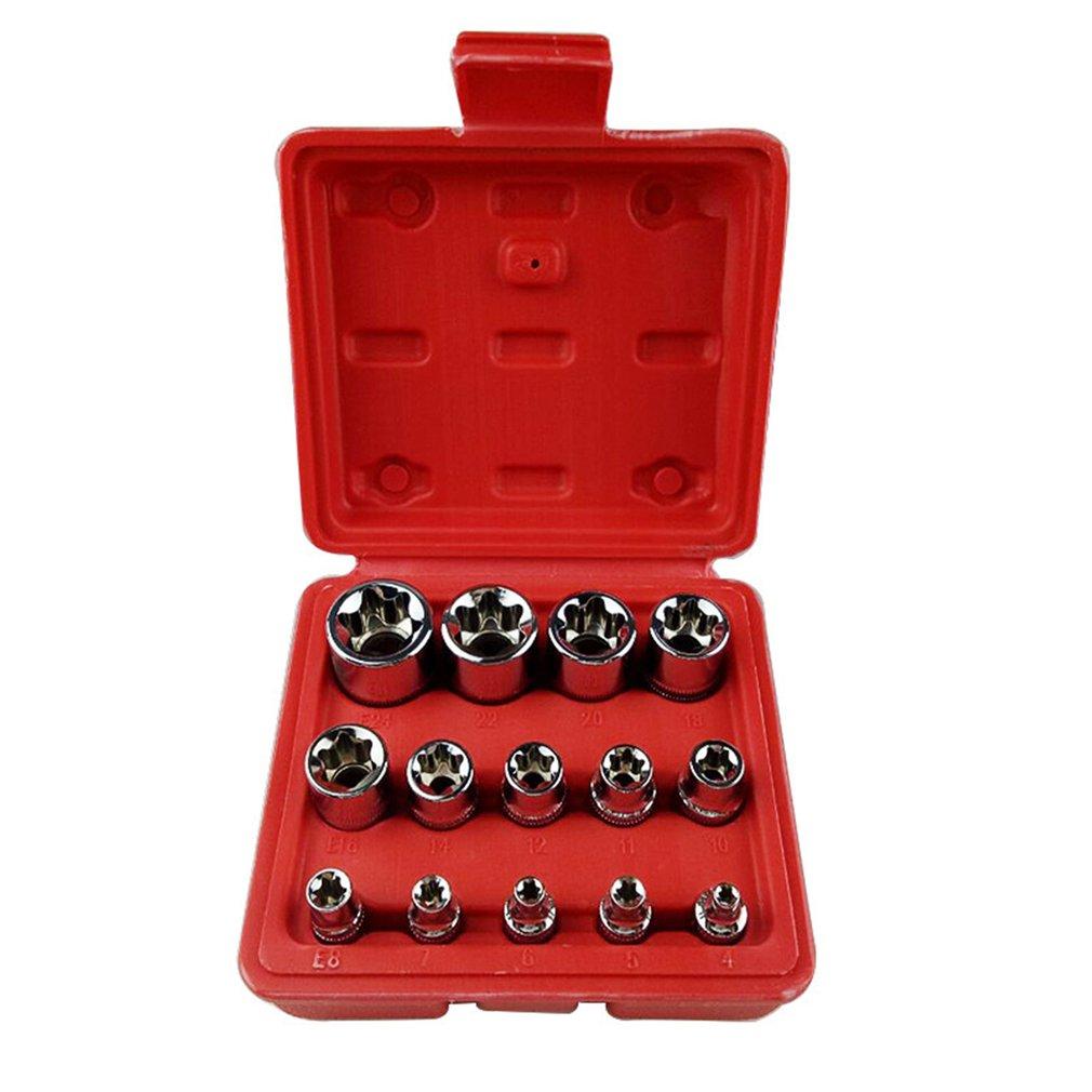 14Pcs/set Female E Type Bit Sockets Wrench Head E4 - E24 1/4