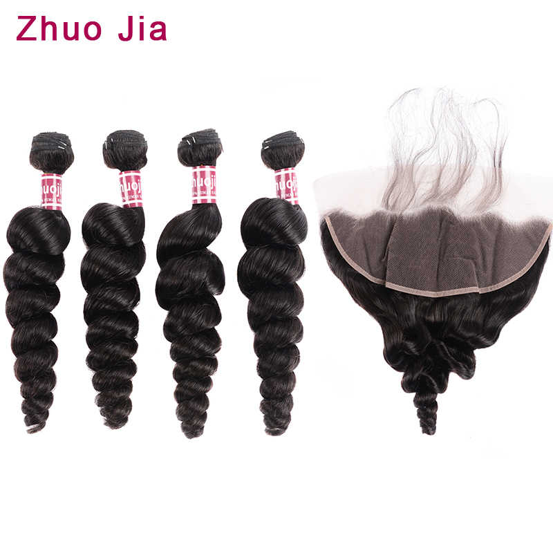 Loose Wave Bundles With Frontal ZhuoJia Human Hair 4 Bundles With Lace Frontal Closure Remy Brazilian Hair Weave