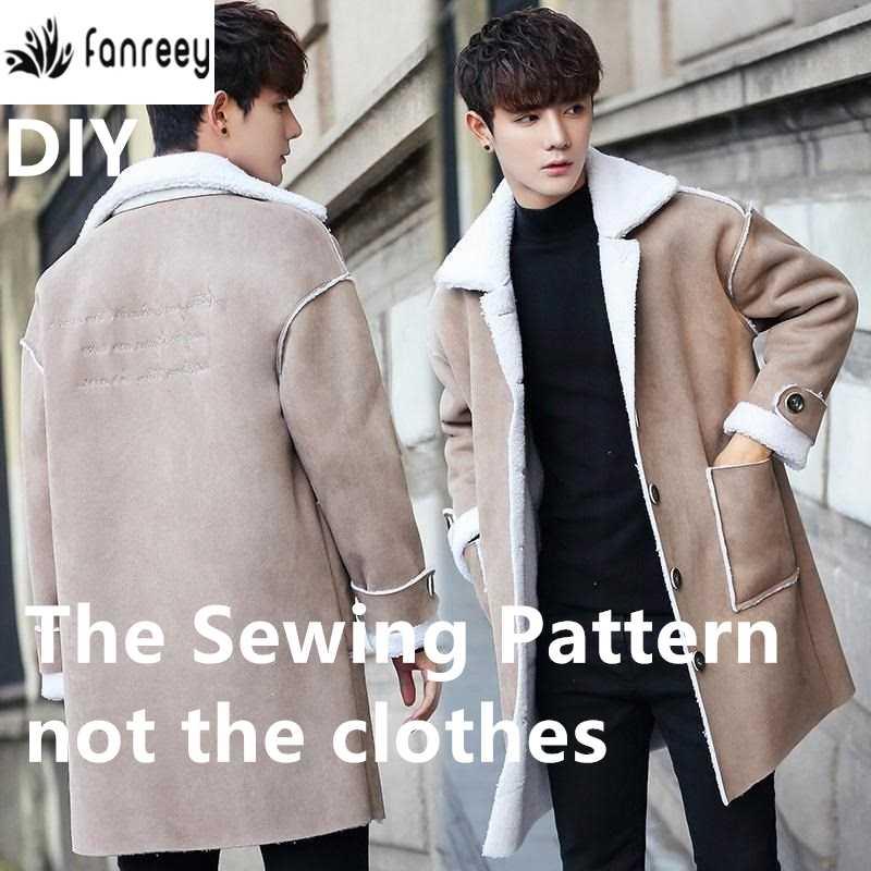 男性の子羊の毛肥厚プラスベルベットトレンチコート縫製パターン DIY WW-M532