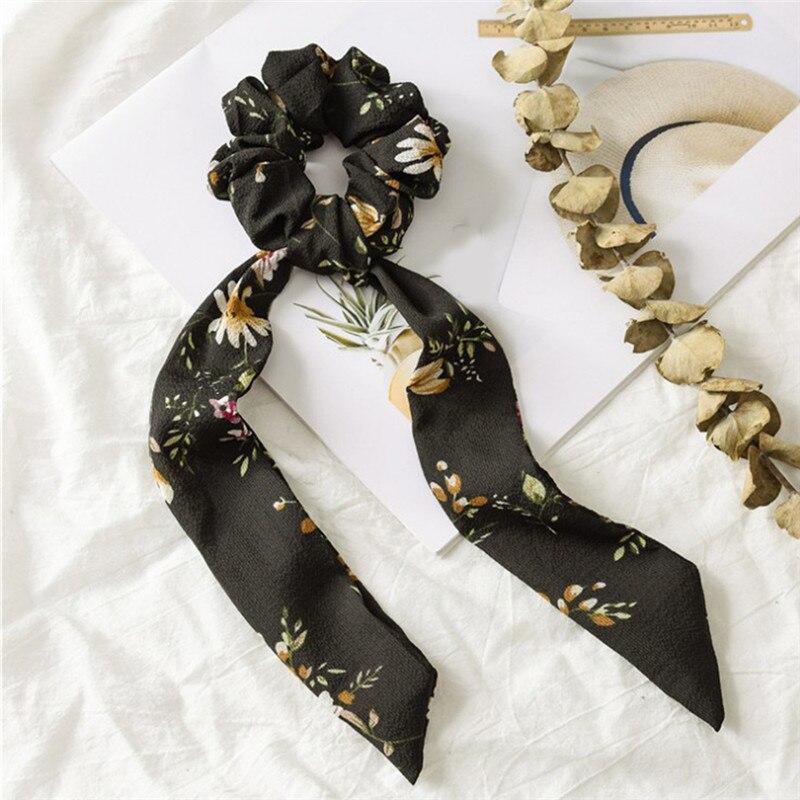 Богемные резинки для волос в горошек с цветочным принтом и бантом, женские эластичные резинки для волос, повязка-шарф, резинки для волос, аксессуары для волос для девочек - Цвет: Floral 4